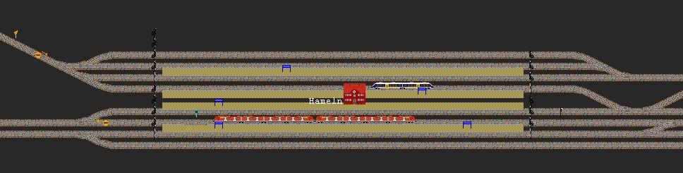 Screenshot vom Bahnhof Hameln aus Streckennetz Bahnsimulation