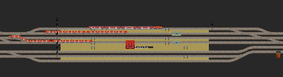Screenshot aus der Eisenbahnsimulation Bahn 3.84, Bahnhof Lehrte
