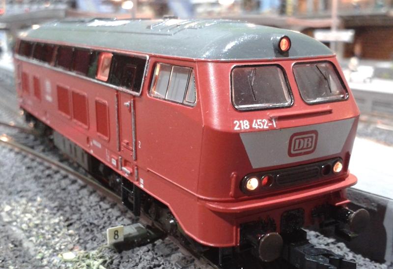 Diesellok 218 452-1 auf der Modellbahn