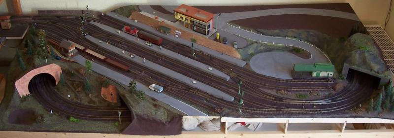 Bahnhofsmodul der Modellbahn im Januar 2009