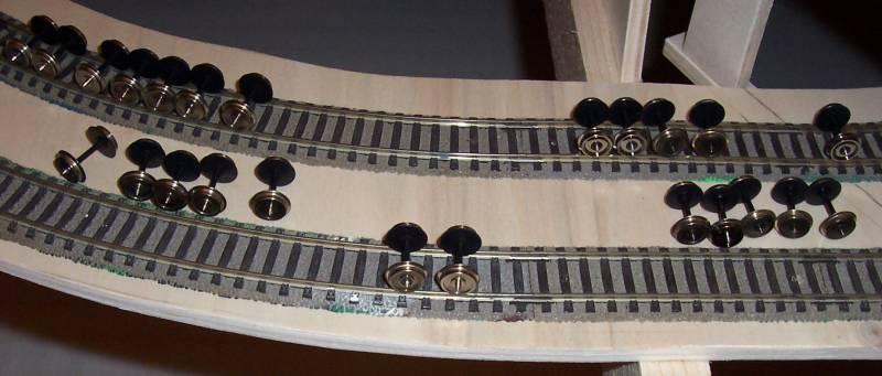 Radsätze der Modellbahnwaggons