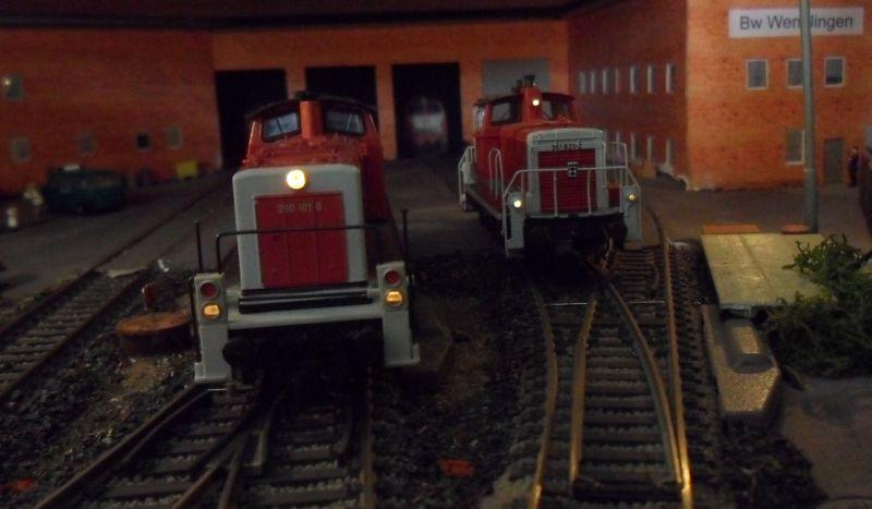 Rangierloks (290 und 361) warten im Bw Wendlingen auf den nächsten Einsatz