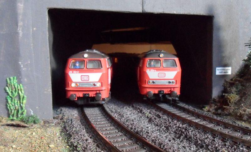 Dieselloks der Baureihe 215 im Vornlinkstunnel