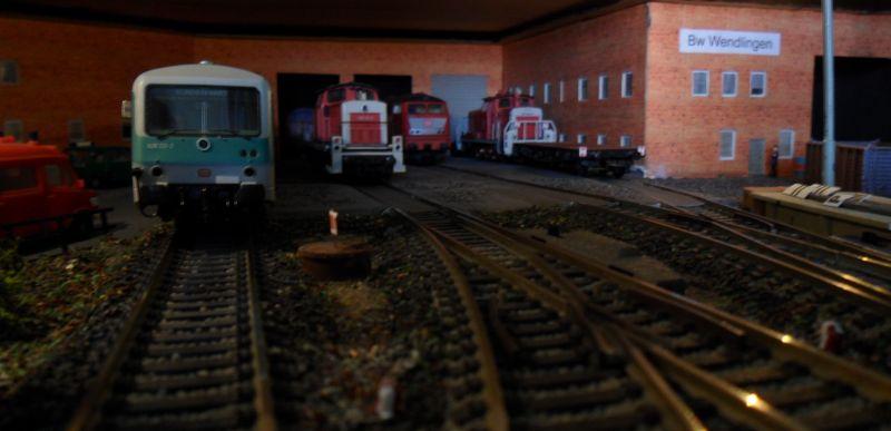 Loks und Triebwagen im Bahnbetriebswerk Wendlingen