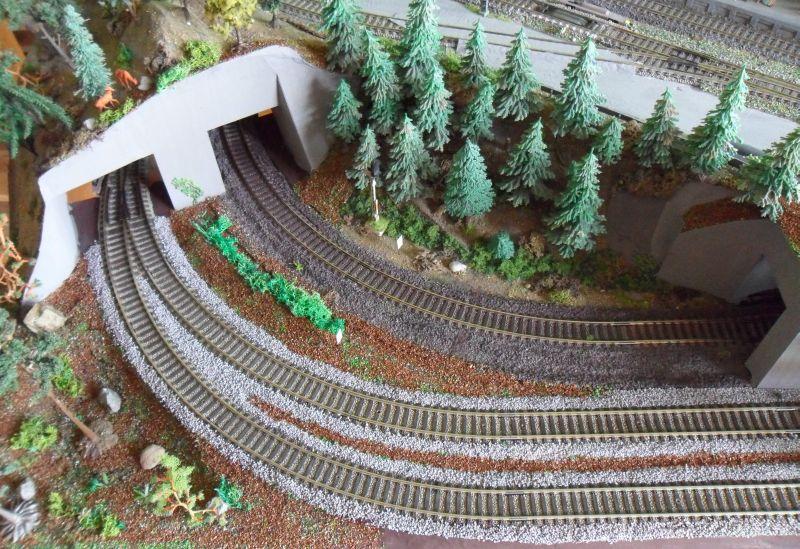 Gleisbereich im vorderen Bereich der Modellbahn