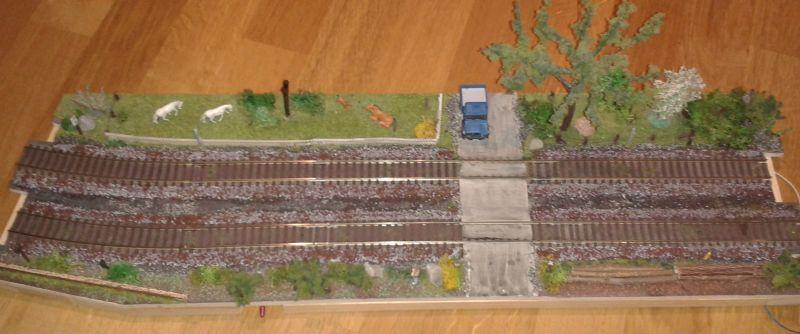 Modellbahnmodul mit Bahnübergang vor dem Abriss