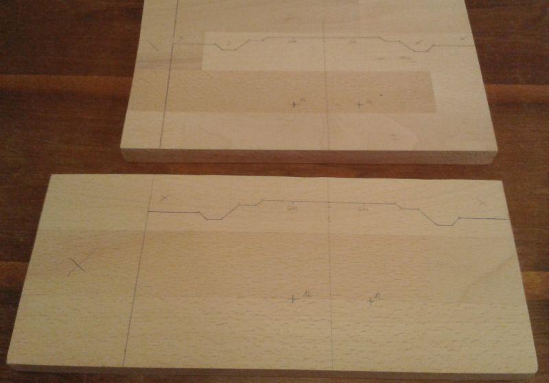 Modulprofile auf Holzplatten gezeichnet