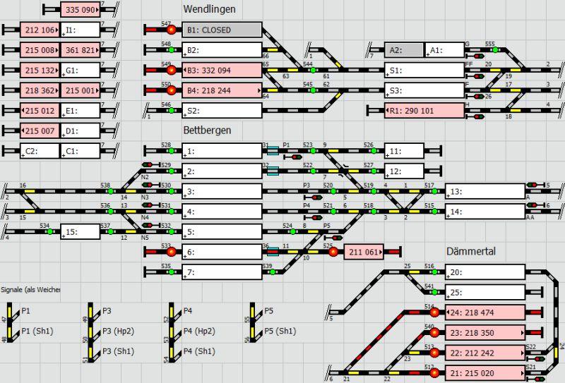 Stelltischplan der Modellbahn im August 2015