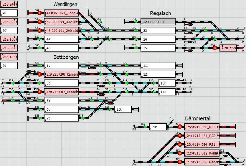 Stelltischplan der Modellbahn
