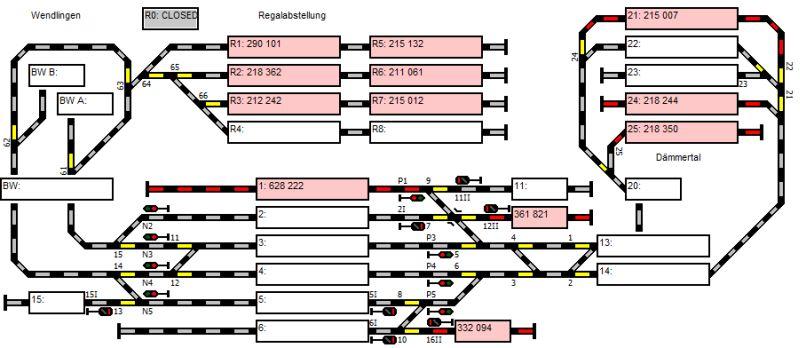 Stelltischplan mit zusätzlichen Abstellgleisen (oben mitte)