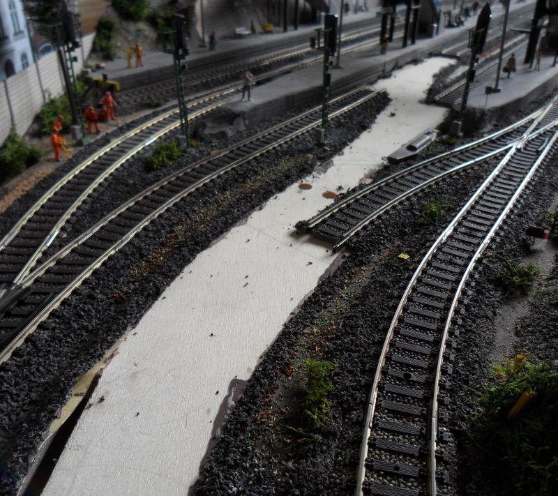 Gleisbauarbeiten im Bahnhof Bettbergen